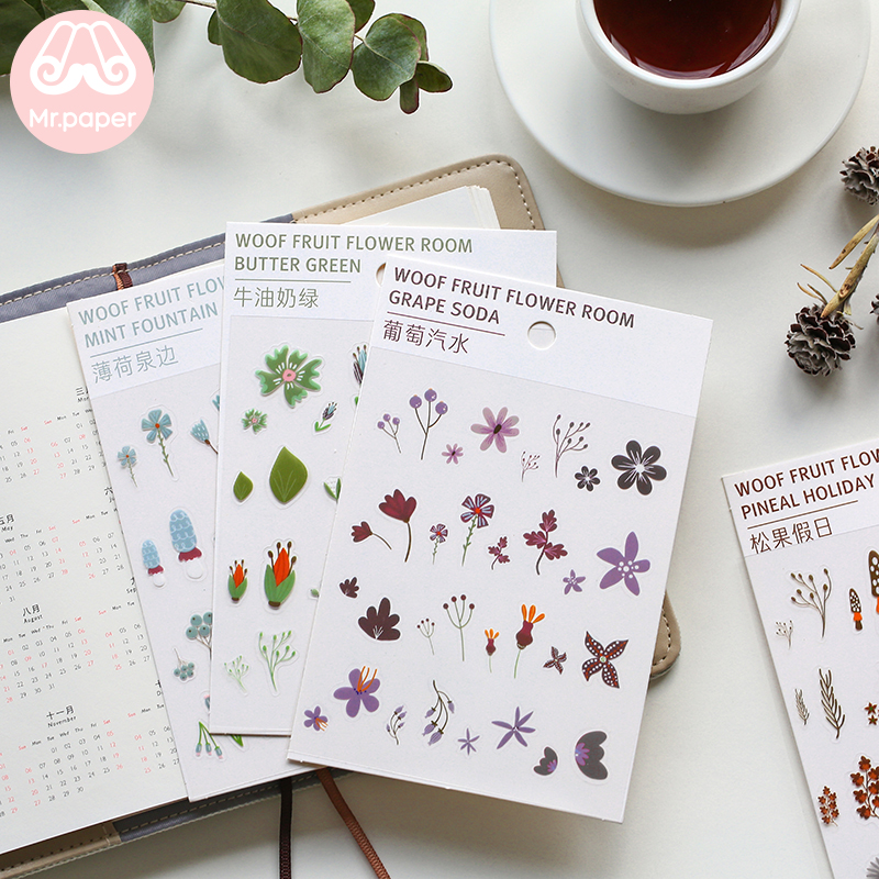 Mr.Paper 6 Designs Transparent Stickers Plant Flower  Journal Decorative PET Stickers Scrapbooking Sticky Label Diary Stationery