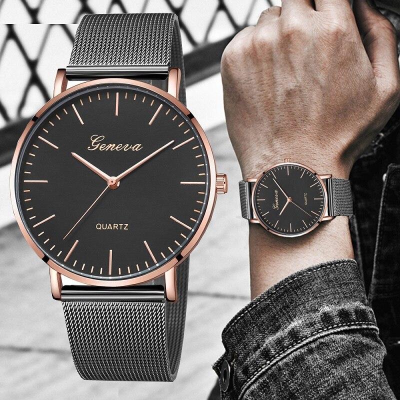 GENEVA 2020 Fashion Casual Watch Men Black Bracelet Mens Watches Quartz Wristwatches Male Clock Relogio Masculino Relojes Hombre