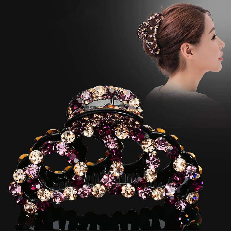 Large Geometry Rings Colorful Rhinestone Women Hairpin Hair Claw Multicolour Rhinestone Hair Clip Fashion Hair Accessory