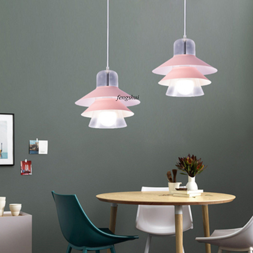 Modern LED Color Glass Pendant Lights Lighting Nordic Loft Restaurant Living Room Bedroom Bedside Bar Indoor Deco Light Fixtures