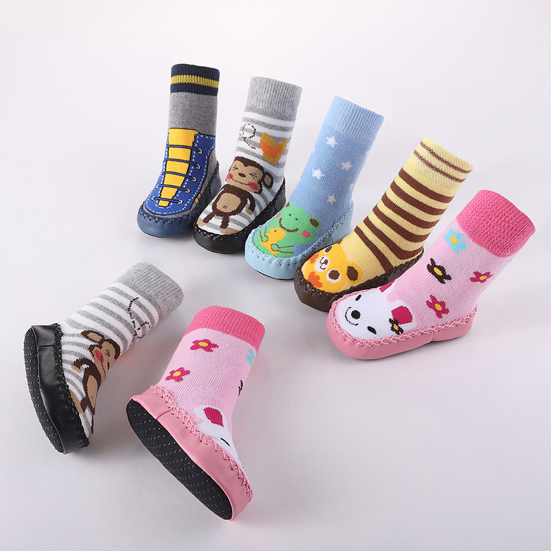 Cartoon Long Boys Girls Baby Shoes Warm Cotton Anti-Slip Baby Step Shoes Socks Winter Autumn Baby Shoes