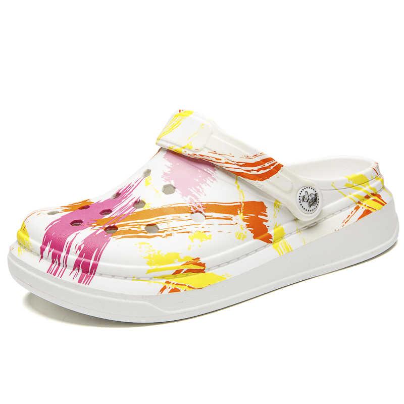 Mùa Hè 2020 Nữ Đi Biển Xanh Đựng Quần Áo Giày Sandal Nữ Crocse Giày Croc EVA Nhẹ Phẳng Sandles Unisex Nhiều Màu Sắc Giày Sandalias