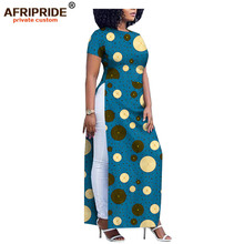 2019 africa print casual dress for women AFRIPRIDE tailor made short sleeve waist split ankle length women cotton dress A1825070 tropical print split sleeve elasticized waist dress