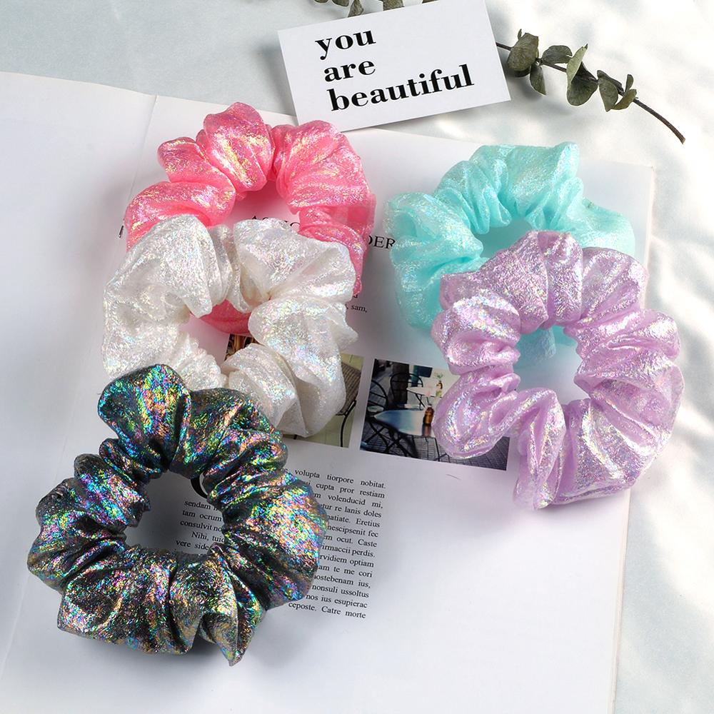 Ruoshui Woman Sequin Hair Ties Shining Scrunchies Girls Rubber Band Elastic Hairband Women Hair Accessories Ponytail Holders