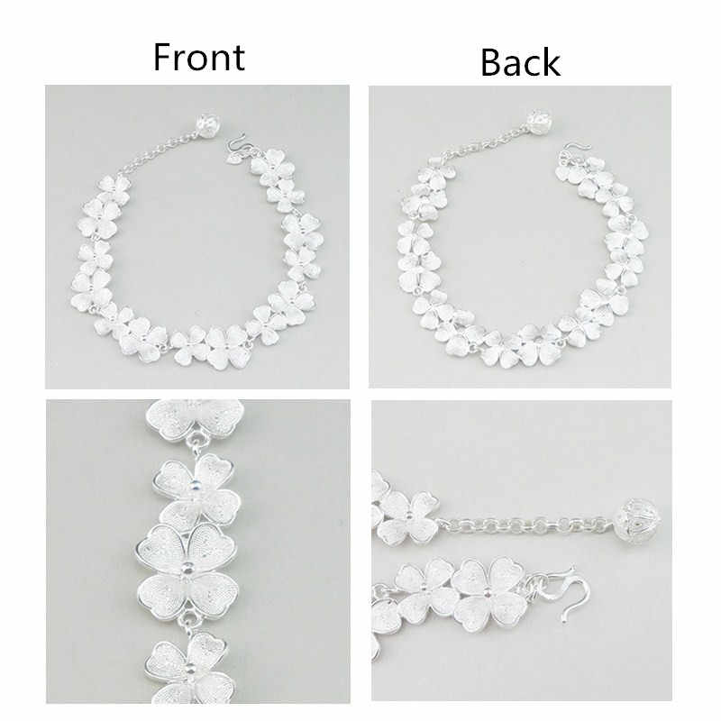 999 Pure Silver Bracelet Link Hand Chain Women Chinese Ethnic Jewelry Boho Handmade Charms Silver Bracelet Flowers Bangles