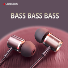 Langsdom M400 유선 헤드폰 이어폰 스마트 폰용 게임용 이어폰 마이크 장착 휴대 전화 Hifi Fone de ouvido