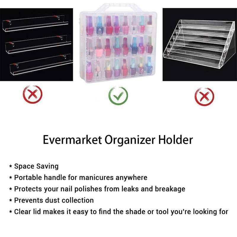 Лак для ногтей держатель, портативная универсальная прозрачная двойная лента боковой органайзер и чехол для хранения резьбы для 48 бутылок Регулируемый Di