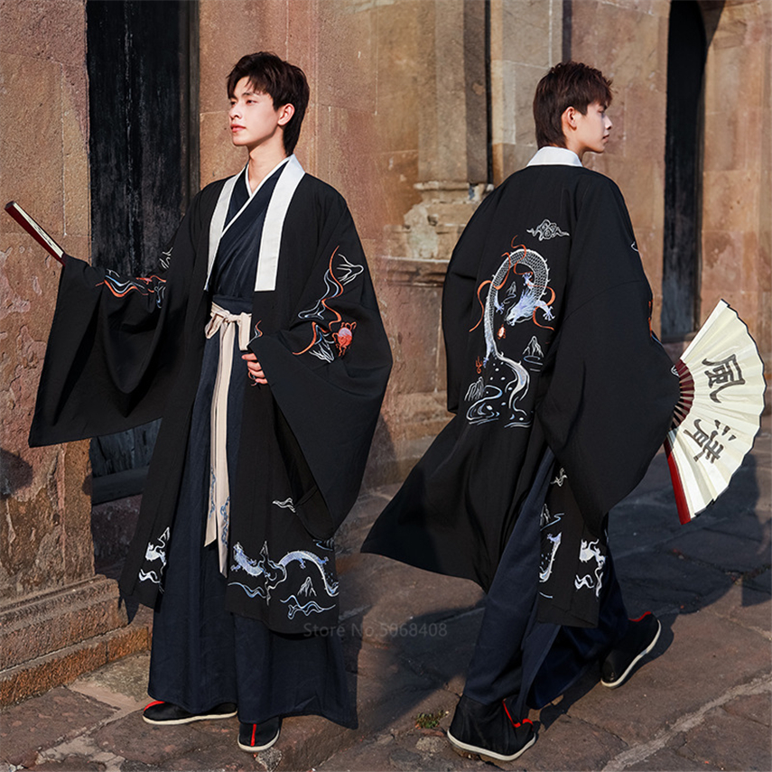 Chinese Style Traditional Clothing Hanfu Men Asian Retro Streetwear Performance Costume Set Vintage Dragon Embroidery Cardigan