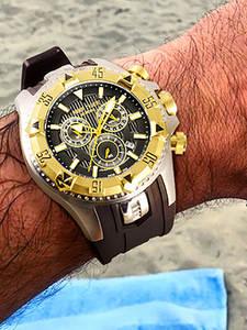 Мужские спортивные кварцевые часы Reef Tiger/RT с хронографом и большим циферблатом, суперсветящиеся стальные желтое золото, RGA303