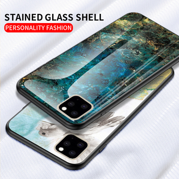 KEYSION Marble Tempered Glass Case for iPhone 11/11 Pro/11 Pro Max