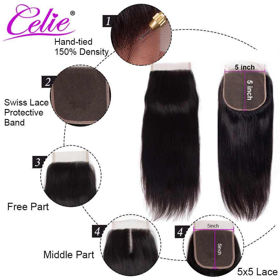 Celie Haar Braziliaanse Straight 5x5 Vetersluiting Gratis/Middelste Deel 150% Dichtheid Natuurlijke Zwarte Kleur Remy Human haar Sluiting