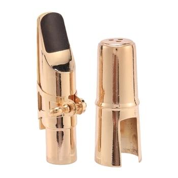 HOT-Golden Alto Sax Saxophone Mouthpiece with Cap and Ligature Musical Instruments Parts