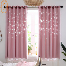 New Snowflake Hollowing  Curtains for Living Room Bathroom  Out Window Short Curtain Modern Polyester Fiber