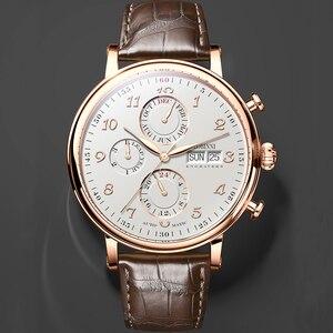 Image 5 - LOBINNI relojes mecánicos de lujo para hombre, reloj mecánico de cuero de zafiro, L13019 9