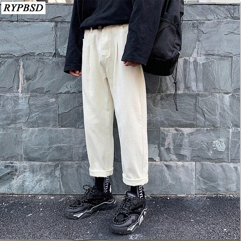 2019 Spring Men Jeans Pants Fashion Trend Baggy Casual Wide Leg Pants Homme Classic White Color Loose Denim Trousers S-2XL