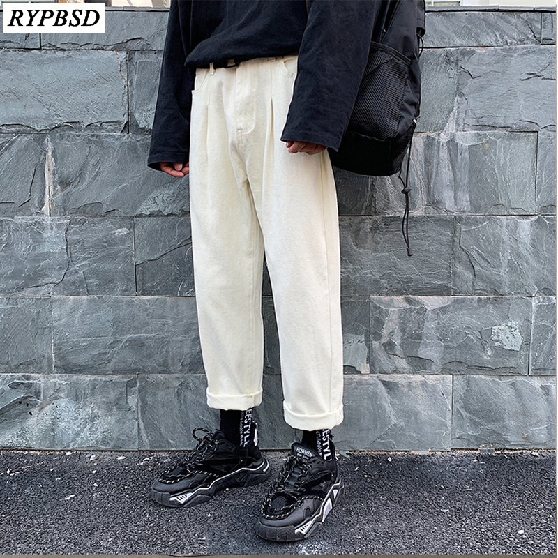 2020 Spring Men Jeans Pants Fashion Trend Baggy Casual Wide Leg Pants Homme Classic White Color Loose Denim Trousers S-2XL