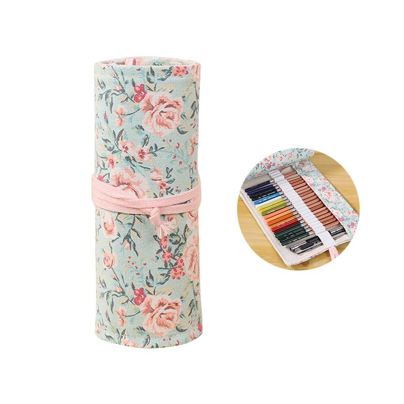 Canvas Portable Handmade Knitting Rolling Pencil Roll Wrap Holder Pouch Case Storage Organizer With 48 Slots (Pink Floral Style)