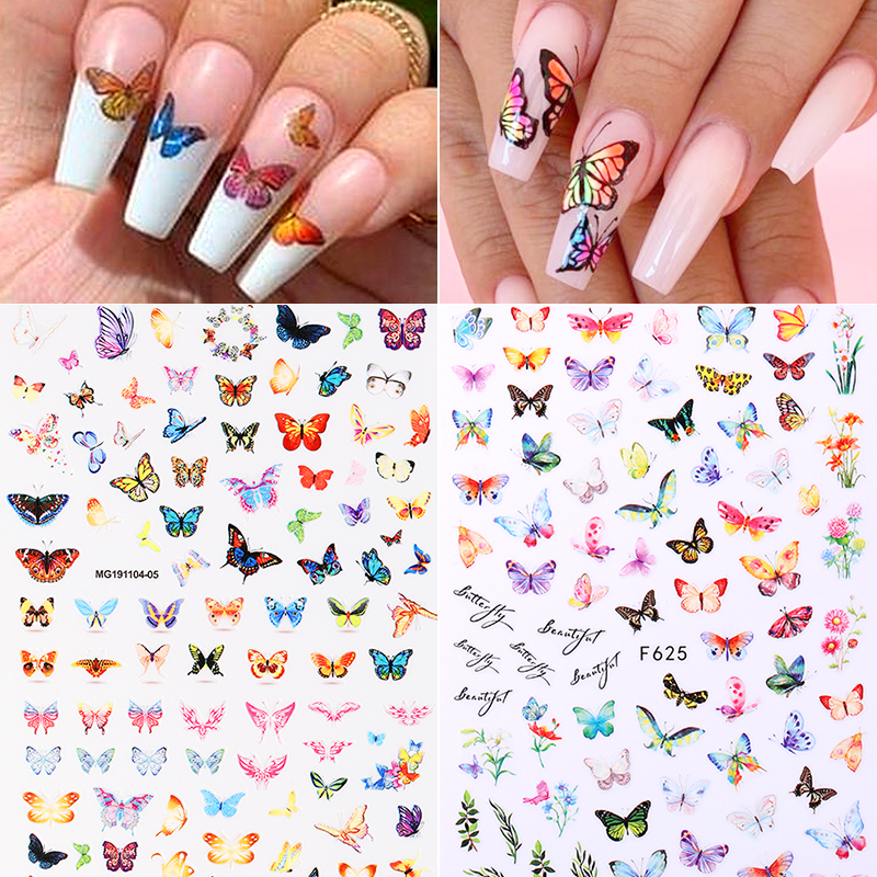 2020 Hot 3D Nail Sticker Paper Butterfly Pattern Transfer Beautiful Decals Decoration Nail Art Wraps DIY Design Accessories