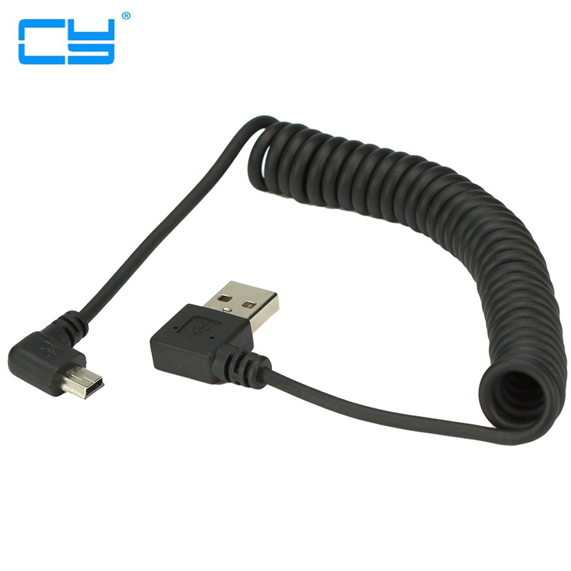 40CM USB 2.0 Male To MINI USB 2.0 Male 90 Degree Angle Retractable Data Charging Cable