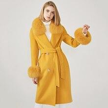 Женское шерстяное пальто, весеннее шерстяное пальто с воротником из натурального Лисьего меха, приталенное женское длинное пальто с регулируемой талией