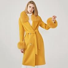 Kadın yün ceket bahar gerçek tilki kürk yaka yün ceket ayarlanabilir bel ince bayanlar uzun palto