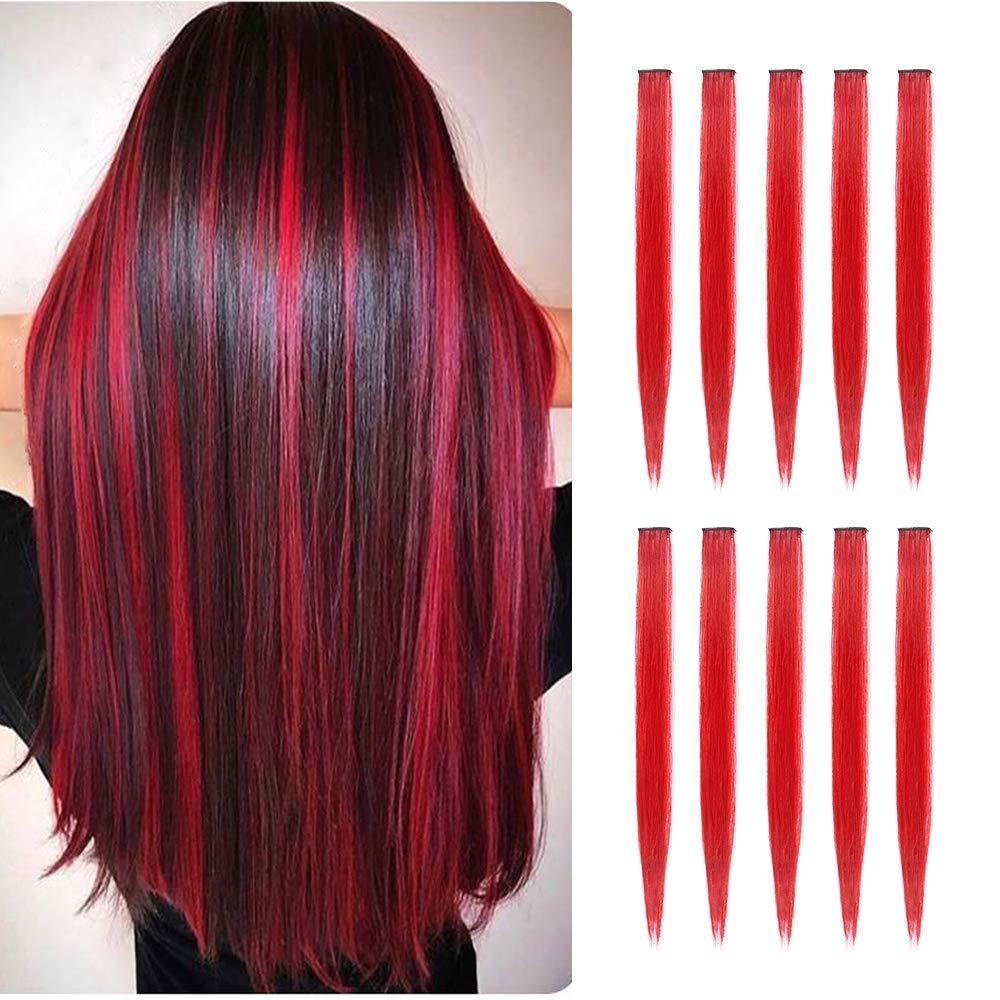 Hightlight uzun düz Ombre sentetik saç uzantıları saf kırmızı pembe mavi yeşil klip tek parça şeritler postiş kadınlar için