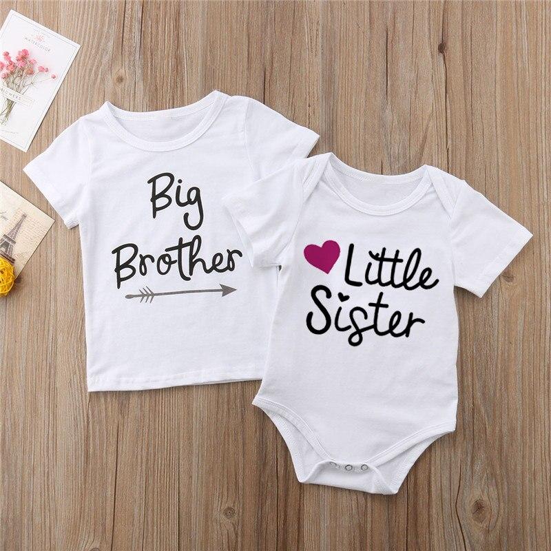 Familie Passenden Kinder Baby Kleine Schwester Kurzarm Buchstaben Spielanzug-bodysuit Big Brother Casual T-shirt Tops Kinder Jungen Kleidung