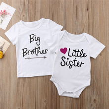 Tops T-Shirt Clothing Rompers Letters Little-Sister Baby Boys Kids Bodysuit Casual Short