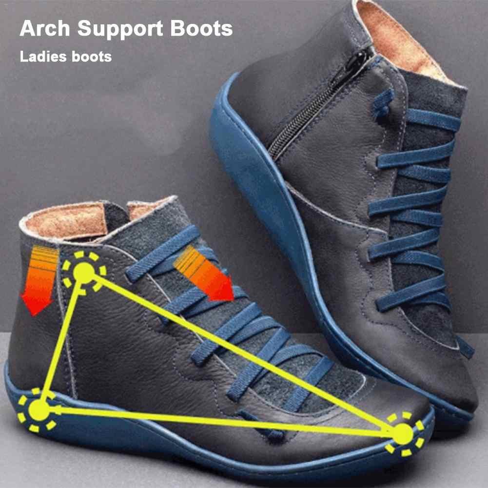 Kadın deri yarım çizmeler kadın sonbahar kış Arch destek çizmeler kadın serseri çizmeler düz kadın ayakkabı kadın Botas Mujer