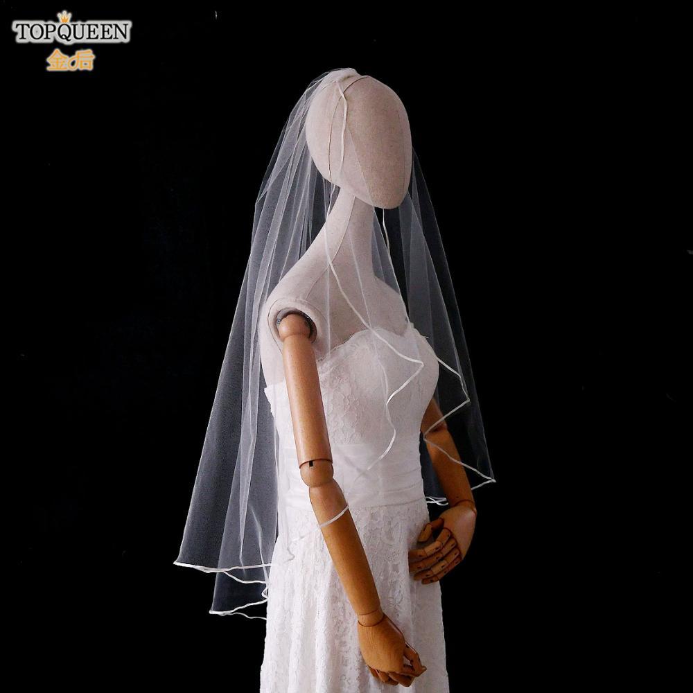 TOPQUEEN V21 New Design Bridal Veil Customised Bridal Veils White ivory Shoulder Length Veil White 2020 Lighting Bridal Veil