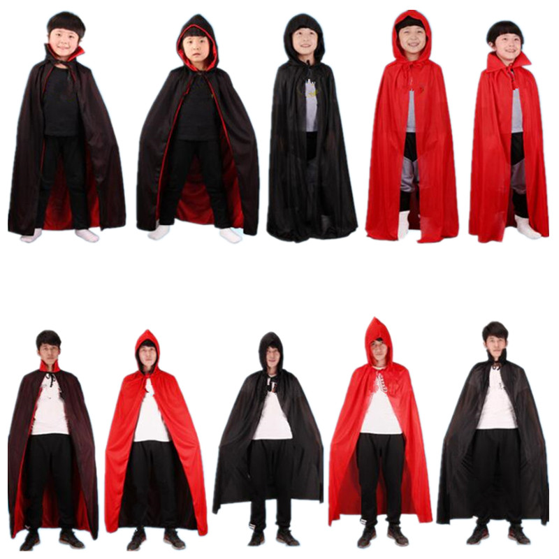 Kids Adults Black Red Death Devil Vampire Cloak Stage Performance Cloak Birthday Party Cosplay Costume  Halloween