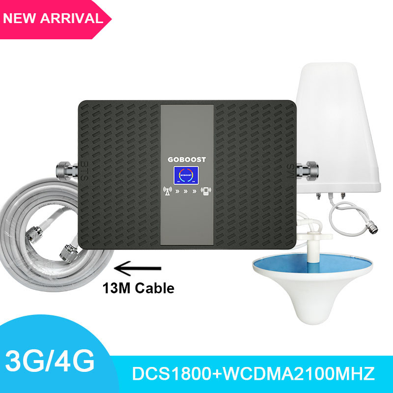 3G4G Cellular Signal Booster Network Mobile Signal Amplifier LTE1800+WCDMA2100mhz Dual Band Repeater With LDPA Antenna 13M Cable