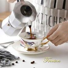 Фарфоровая чайная чашка с блюдцем 200 мл британское кафе фарфоровая