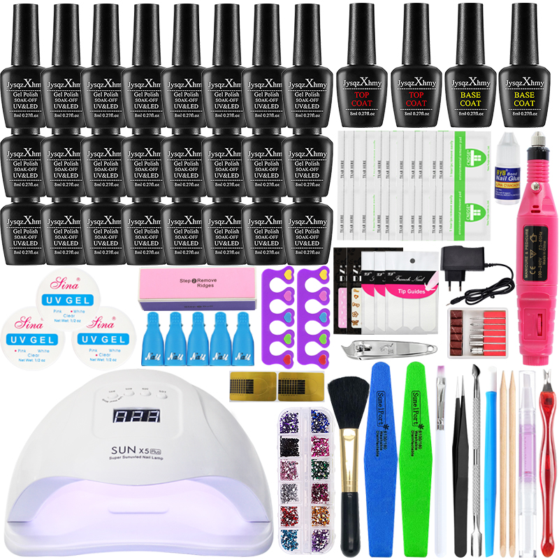 Nail Set With Nail Lamp 24/54W  For Nail Kit Base Top Coat Nail Polish Electric Nail Drill Manicure Set