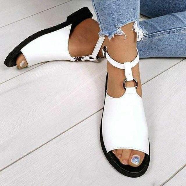 Sandalias de verano 2020, zapatos de mujer de talla grande 43, moda informal femenina, hebilla en el tobillo para zapatos, sandalias de mujer, calzado antideslizante para playa 1