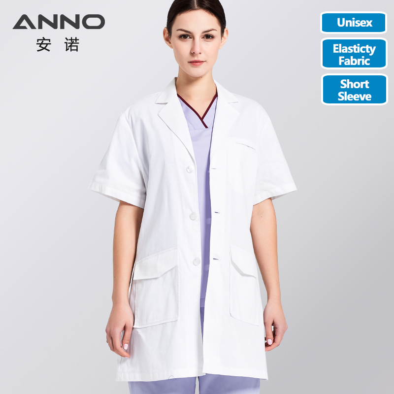ANNO White Lab Coat Elastic Fabric Doctor Uniform Scrubs Outfit Summer Medical Clothing Short Sleeve Doctor Suit