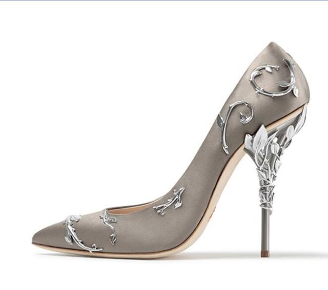Elegant Silk Rhinestone Flower Design Pointed Toe High Heels 4