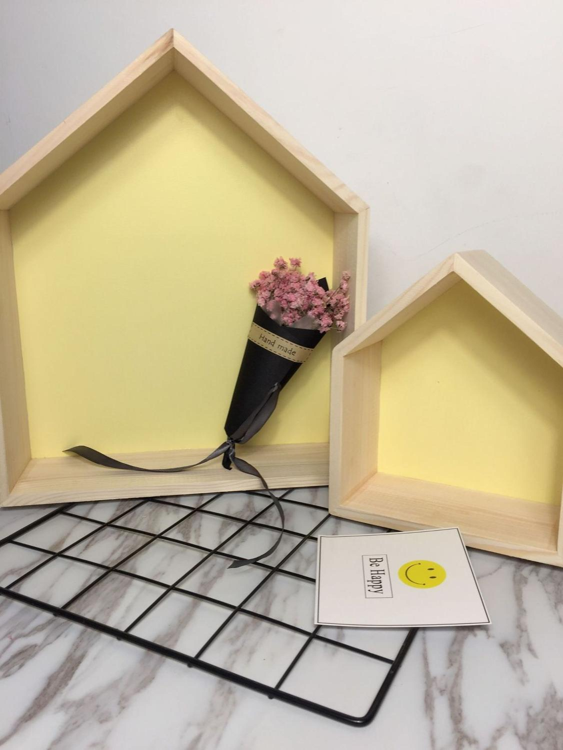 Wall Mounted Type Wooden House Shelf Children Room Decorated Wood Doll Houses Kids Baby Girls Room House Wooden Wall Shelf
