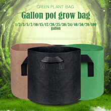 1 2 3 5 7 gallon green plant grow bag non woven fabric vegetable trees flower container cup nursery garden supplies flowerpot Non-Woven 1 To 75 Gallon Garden Plant Grow Bag Vegetable Flower Pot Planter DIY Potato Garden Pot Plant Eco-Friendly Grow Bag