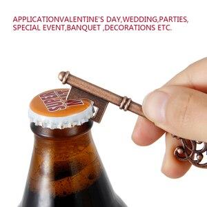 Image 5 - 50pcs מתכת מפתח בירה בקבוק פותחן יין טבעת Keychain מסיבת חתונה טובות בציר מטבח אביזרי עתיק מתנות לאורחים