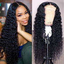 Frontal Wig Wig-Lace Human-Hair Curly Deep-Wave Transparent Black-Women Cheap
