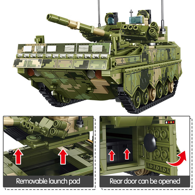 City WW2 Chariot Missile Car Vehicle Model Building Blocks Military Technic Weapons Army Tank Soldier Figures Bricks Kids Toys