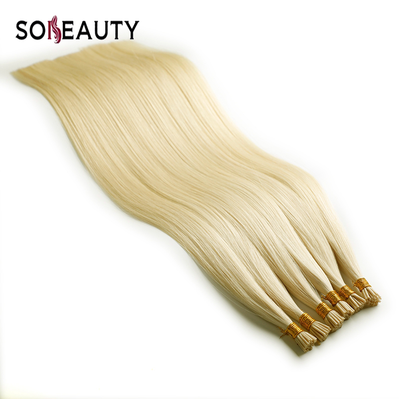 Sobeauty I Tip Hair Extension Fusion Hair  Straight Brazilian  Hair Remy Human Hair Extensions On Capsule  50 Strands/pack 20''