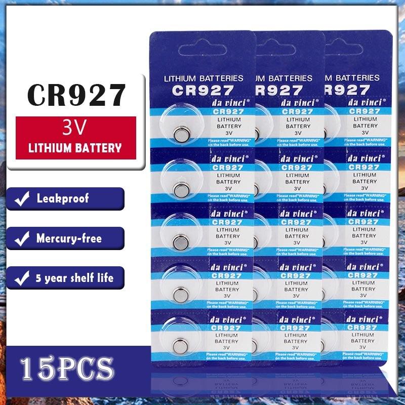 15 pçs/lote nova bateria de lítio cr927 3 v dl927 br927 kcr927 cr 927 botão baterias para relógio brinquedo computador calculadora controle