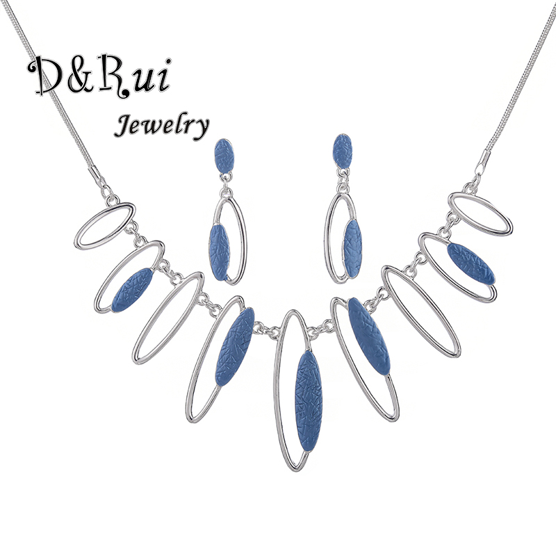 Fashion Jewellery <font><b>2019</b></font> Geometric Drop Dangle Earrings Necklaces <font><b>Set</b></font> <font><b>for</b></font> Girls Woman Charm Blue Chain Pendant Enamel <font><b>Jewelry</b></font> <font><b>Sets</b></font> image