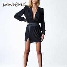 Deuxtwinstyle Sexy dos nu robe dété pour les femmes col en V lanterne manches taille haute rayé fendu robes femme 2020 mode nouveau