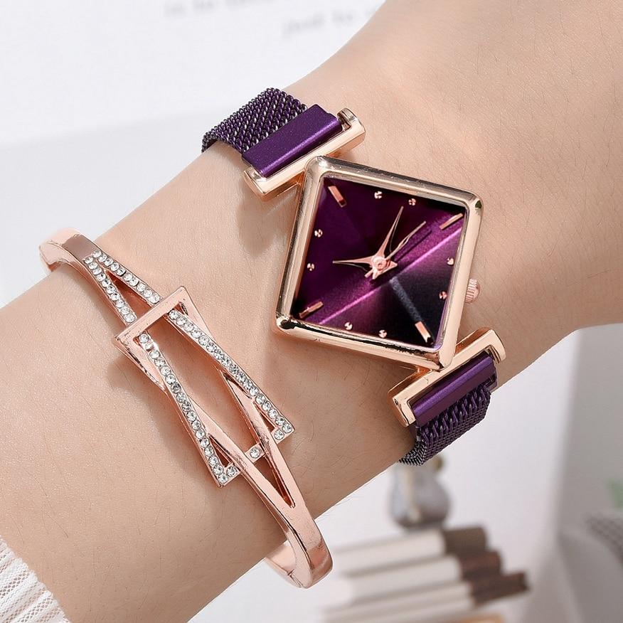 Frauen Quadrat Uhr Luxus Damen Quarz Magnet Schnalle Gradienten Farbe Uhren Relogio Feminino Für Geschenk Uhr
