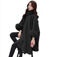 2019 Winter Fur Neck Coat Women Plus Size Long Cloak Casual Loose Ladies Jacket Warm Cape Coats Women Clothes Outwear Cloak New