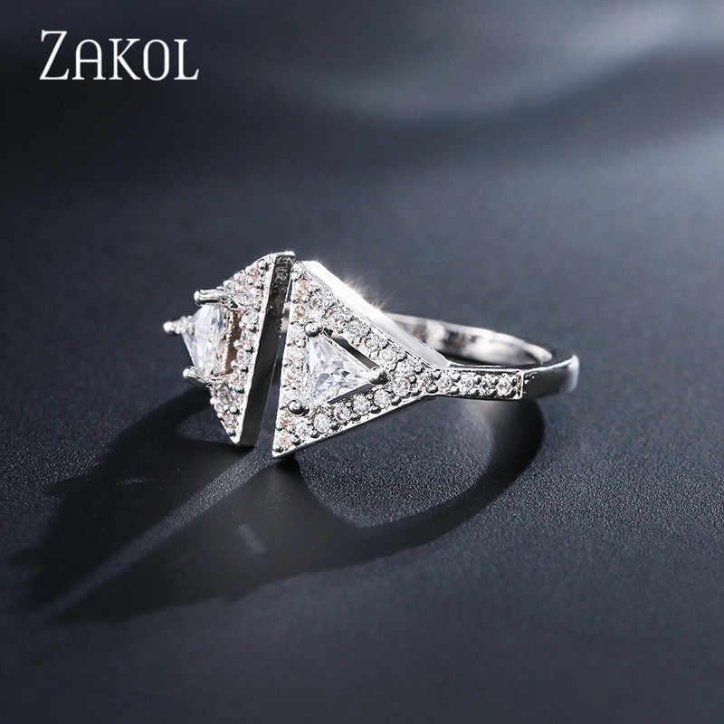 ZAKOL Elegant Cubic Zirconia เปิดสร้อยข้อมือแหวนชุดเครื่องประดับเจ้าสาวสำหรับงานแต่งงานวันเกิดของขวัญ FSSP3134