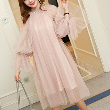 New 2019 Lace Loose Sexy Dresses large Plus size Dress Transparent Mesh Reffle dresses Woman Party Night Shein Lace Dress 860C(China)